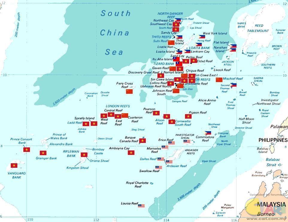 马来西亚现在控制的南沙群岛岛礁有10个