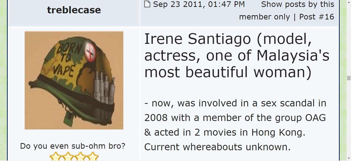 Ke Mana Menghilangnye Irene Santiago (Sweetheart Malaya Suatu Ketike Dahulu)?