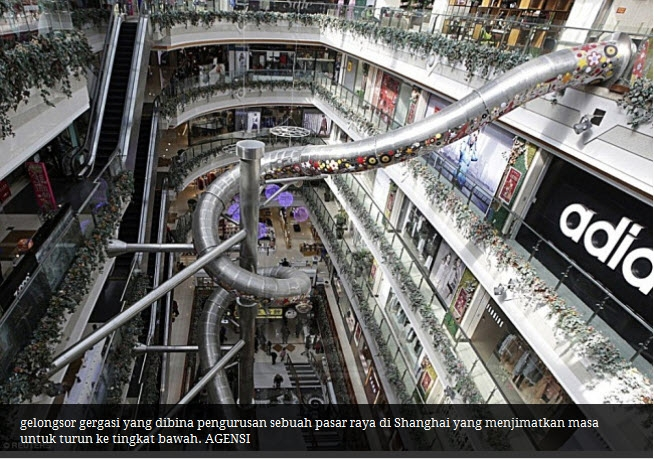 Kool sangat ! Pasaraya di China ada gelongsor setinggi 5 tingkat