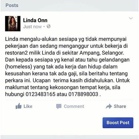 Linda Onn terdesak cari pekerja