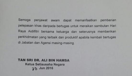 Penjawat Awam Diberi Cuti Pada 8 Julai 2016 Jumaat Sempena Aidilfitri Semasa Cari Infonet