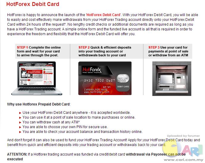Hotforex debit card