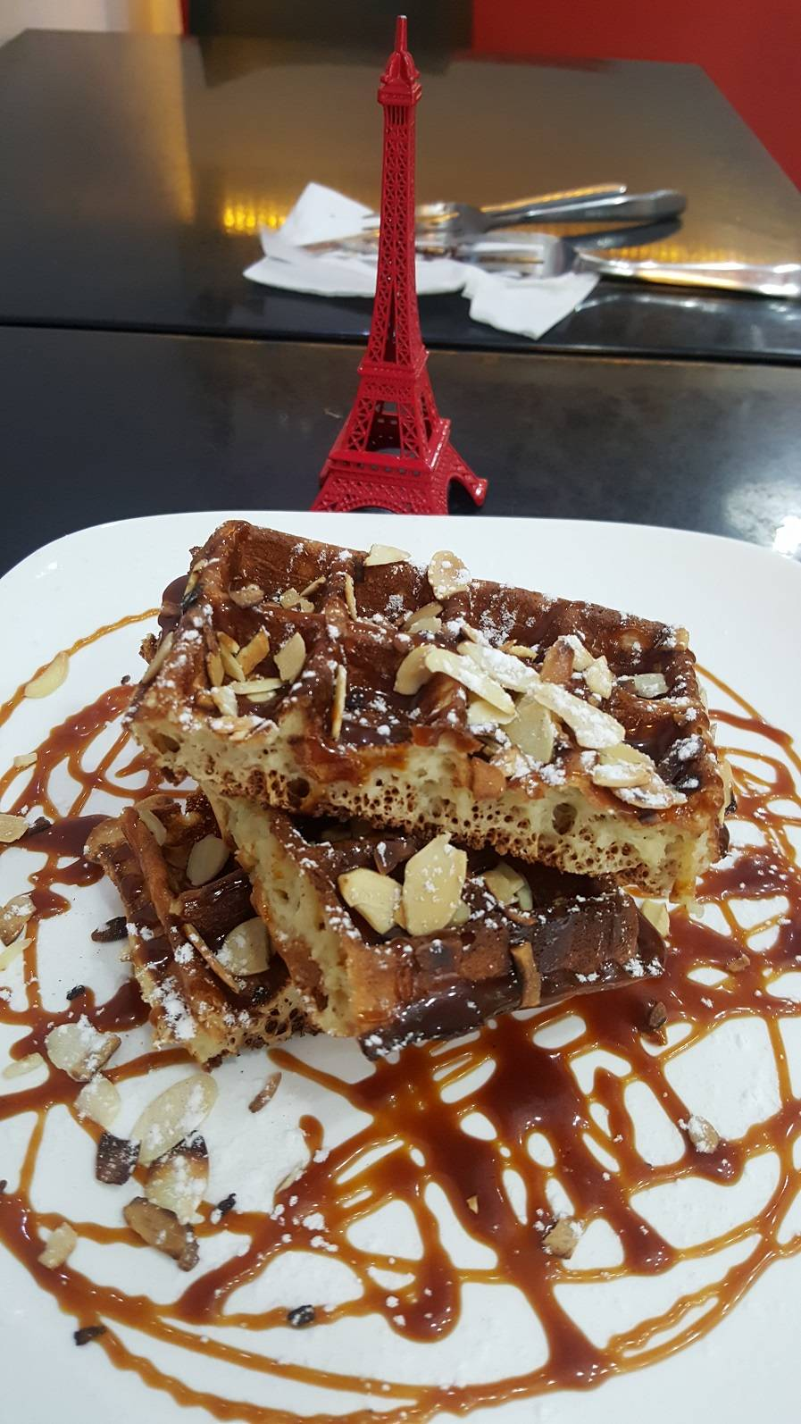 Homemade Caramel +Almond Waffle RM 15