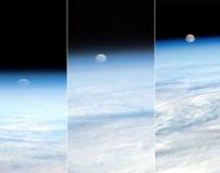 太空拍攝月球從地平線升起:形同被壓扁球體。。。