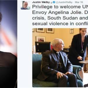 """Angelina Jolie""""激凸""""与英国大主教会面遭批不尊重..."""