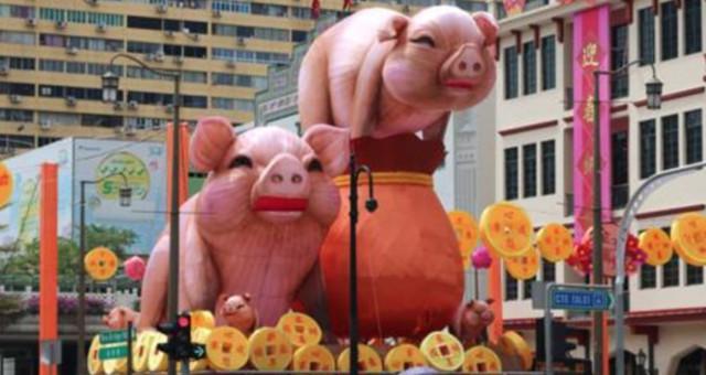 继狗年后,新加坡牛车水猪年灯饰又被吐槽太丑了!