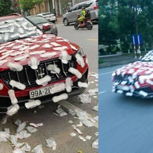 """乱停车惹祸! Maserati来""""大姨妈""""被贴满卫生巾!"""