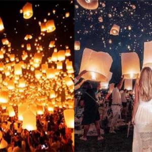 璀璨的泰国水灯节,万盏孔明灯点亮星空!