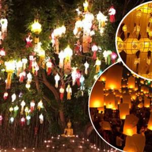 千年古城清迈浪漫水灯节,入夜的景象好迷人