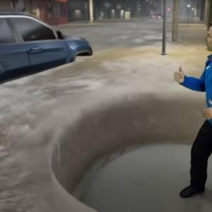 """《天气频道》用""""混合实境""""告诉观众闪电式水灾的危险性"""