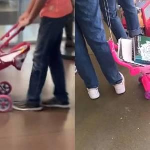 学校禁止带书包,学生拉着家里的玩具车洗衣篮装书回校!场面滑稽且无奈