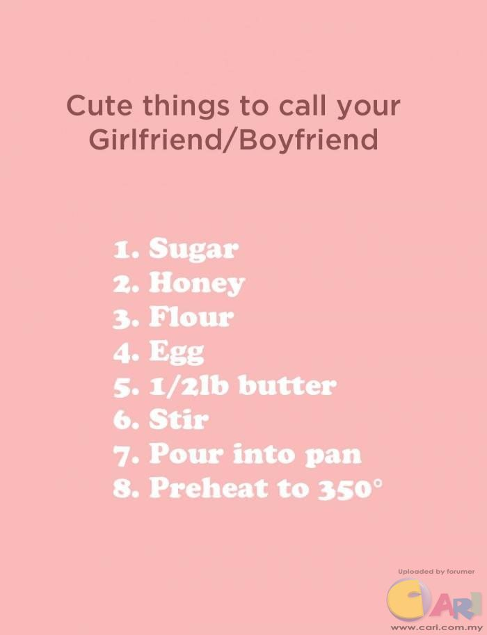 Cute names to call my boyfriend? - GirlsAskGuys