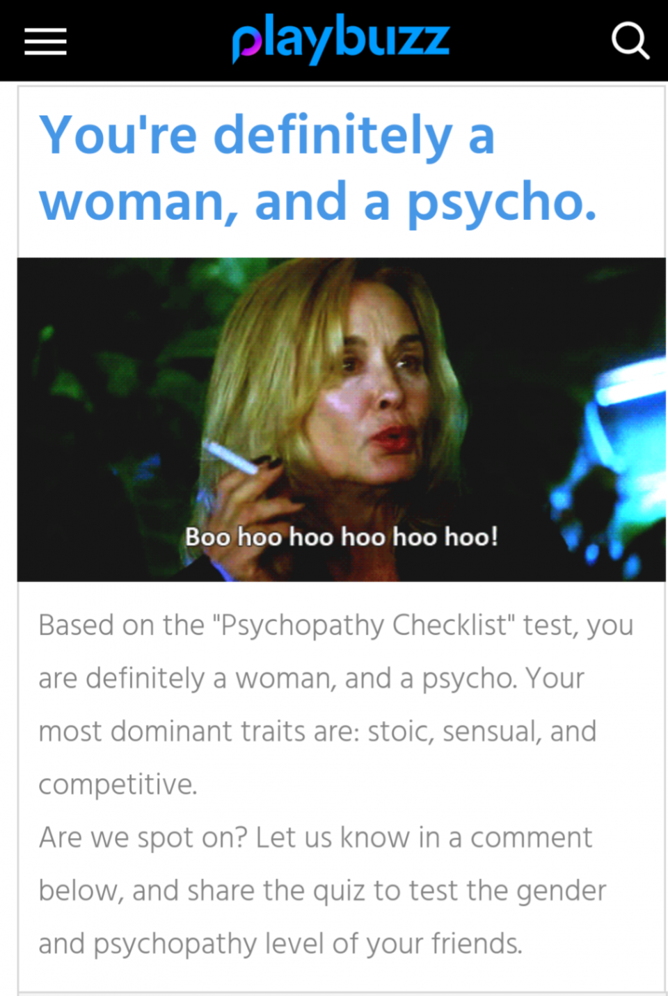 Quiz: This psychopathy checklist can guess your gender in 10