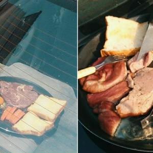 Lucu! Masak Steak Di Tengah Panas, Nampak Pelik Tapi Rupanya 'Menjadi' Pula