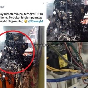 Gambar Penapis Air Coway Terbakar Jadi Tular, Ini Respon Wakil Coway