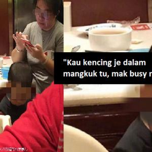 Leka Main Telefon Bimbit, Mak Suruh Anak Kencing Dalam Mangkuk Restoran