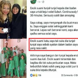 Asiah Mohon Cerai Kerana Suami Tunjal-Tunjal Kepala Kejut Solat Subuh