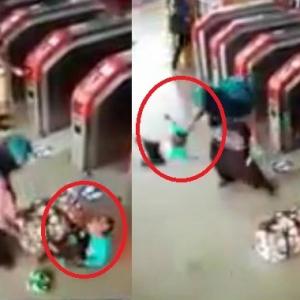 Wanita Hayun, Tampar Dan Tendang Kanak-Kanak Di Stesen LRT