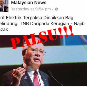 Palsu! Tiada Kenaikan Tarif Elektrik Untuk Lindung TNB