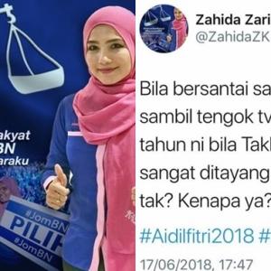 """Alahai Kak... Takbir Raya Aidilfitri Memang Sekejap Je"" Netizen Selar Tweet Puteri Umno Ini"