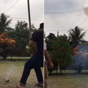 """""""Dah Tua Tapi Bingai"""" - Netizen Kecam Pakcik Pukul Mercun Dengan Kayu Golf"""