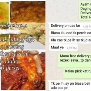 """""""RM3 Pun Berkira Ke?"""" -  Pembeli Batalkan Tempahan Makanan Kerana Ada Caj Penghantaran"""