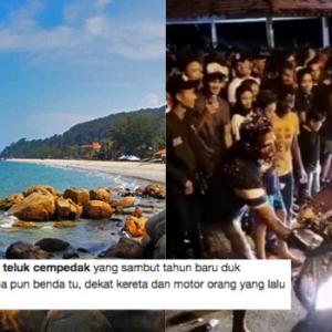 Kacau Pengunjung, Teluk Cempedak Dicemari Budak 'Nakal' Pada Malam Tahun Baru