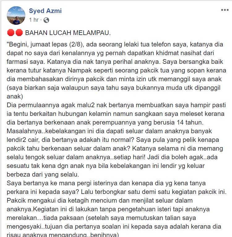 Syed Azmi Dedah Kisah Bapa 'Ketagih' Cium Pakaian Dalam Anak Sendiri