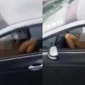 Wanita Sibuk Layan Nafsu Sendiri Sambil Memandu Di Highway Di Melaka!