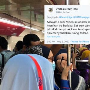 """""""Harap Tiada Kluster KTM"""" - Tren Sesak Bukan Gambar Lama, KTMB Mohon Maaf"""