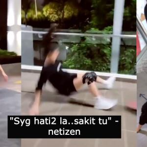 """""""Sayang hati-hati la, sakit tu"""" Elizabeth Tan terjatuh ketika main """"skateboard"""", cetus kerisauan ramai"""