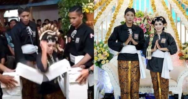Pengantin Cium Tangan Suami Sebelum Pecahkan Bata Di Majlis Kahwin