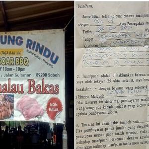 Gerai Jual Bab! Hutan Panggang Pula Dikompaun RM50,000, Apa Kata Netizen?